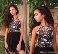 Wholesale Halter Top Split Dress - 2017 Bling Bling Little Black Dresses Halter Beads Crystal Top Short Cocktail Party Dresses Chiffon Yong Girls Homecoming Gowns Casual Wear