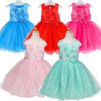 Wholesale Elegant Evening Kids Dresses - Baby Girls Flower Wedding Party Dresses Toddler Infant Princess Evening Kids Elegant Costume Roupas Fille Children Clothes