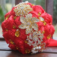 Wholesale gold artificial wedding bouquets - Red Silk Satin Wedding Bouquets Simulation Flower Wedding Supplies Artificial Flower Gold Rhinestones Sweet 15 Quinceanera Bouquets W227-G