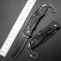 Wholesale Cheap Quality Knives - High Quality cheap price Dragon Tactical Keychain Mini Pocket Folding Knife 440C Blade Black Titanium Handle Outdoor Survival Knives EDC