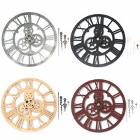 Wholesale Mechanical Wall Clock Gears - Wholesale- New Fashion 3D Wall Clock Handmade Vintage Rustic Retro Decorative Luxury Art Gear Acrylic Vintage Large Wall Clock Home Decor
