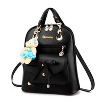 Wholesale Cute Bow Bags For School - Fashion Solid backpacks Women Mochila Multi-Function Shoulders bag Cute bow school bags for teenager girls Z-K41