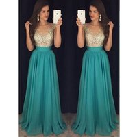 Wholesale Sexy Gorgeous Evening Dress Cheap - Hunter Green Gorgeous Prom Dresses 2017 Sparkling Beads Top Jewel Neck Crystal A Line Long Evening Party Gowns Vestido De Soiree Cheap
