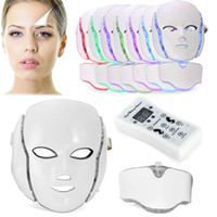Wholesale Micro Current Led Light - LED Photon Therapy Beauty Machine Skin Rejuvenation LED Facial Neck Mask With 7 Colors Micro-current For Wrinkle Acne Removal