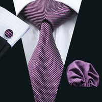 Wholesale Silk Neck Ties Xl - LS-950 2016 New Arrive Mens Purple Plaid 100% Silk Gravata Tie Hanky Cufflink Set For Men Formal Wedding Party Free Shipping
