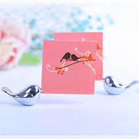 bebek aşk kuşları toptan satış-Metal Aşk Kuş Yeri Kart Tutucu Düğün Masa Dekor Gelin Bebek Duş Vaftiz Favor Hediye Parti Hediyelik Eşya S201728