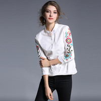 Wholesale Pinch Pleats - White Embroidered Women Shirts Blouse Pinch Pleated Irregular Swing 3 4 Sleeve Female Casual Elegant Shirt Sweet Tops Clothing