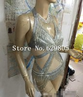 Wholesale Sexy One Piece Clubwear - Women's Sexy Silver Glass Beads Tassel Outfit One Piece Crystals Bodysuit Queen Design Nightclub Party Singer Dance Costume