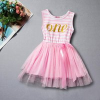 Wholesale Girls Brithday Dresses - Brithday Dress First Girls Outfit Dress Pink Gold Letter Tutu Dress Striped Gold Toddler Kids Clothes
