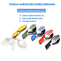 Wholesale Hot Multifunction Outdoor Camping Picnic Tableware Stainless Steel Cutlery in Folding Fork Knife Bottle Opener Dinnerware