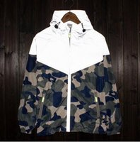 Wholesale Camo Collars - New Mens sport skateboard reflect light outdoor camouflage jackets Stand Collar Loog Sleeve coats men women camo floral jacket windbreaker F