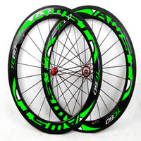 Wholesale Green Clincher Wheels - AWST 60mm full carbon fiber road bike wheels green decal bicycle carbon wheels clincher 700C china bike wheels free shipping