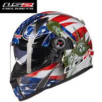 Wholesale Ls2 Helmets Blue - New arrival LS2 ff396 glass fiber full face motorcgcle helmet with inner sunshield motorbike helmet XL XXL SIZE man woman racing moto helmet