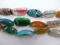 conector de fatia de ágata venda por atacado-Rainbow Agate Gemstone Brasil Ágata Jóias Curva Slice Bracelet Conector Solta Pérolas 13x30mm full strand