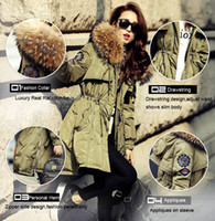 Wholesale Ladies White Satin Jackets - High Quality Large Real Raccoon Fur Winter Jacket Lady Fur Collar Hooded Thick White Duck Down Army Parka For Women Winter Ladies Coat