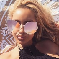 Wholesale Heart Shaped Sunglasses Fashion - 2017 New Brand Designer Women Fashion Sunglasses Cateye Metal Luxury Heart Shape Overisze Eyeglasses Shades Pink Mirrors Transparent Clear