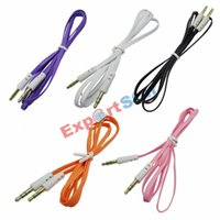 Wholesale Mini Usb Flat - Flat Noodle 3.5mm Noodle Audio Aux Cable Colorful Auxillary Music Car Male To Male Extension Cord Audio Stereo for Mp3 Player Samsung