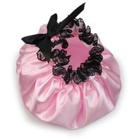 Wholesale Lace Bath Hat - Wholesale- Pink Women Waterproof Satin Lace Bouffant Bowknot Bath Shower Cap Hat Elastic Band Bathing Spa Accessories