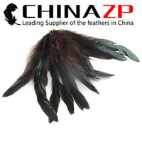 wholesale rooster feathers natural UK - Hand Select CHINAZP 100Pcs lot 15~20cm(6~8inch) Unique Natural Wholesale Rooster Coque Tail Feathers for Performance Costumes