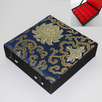 Wholesale Grid 16 - Boutique 16 Grid Silk Brocade Box Wooden Multi Slot Jewelry Storage Case Earrings Rings Pendant Packaging Boxes Wedding Party Gifts
