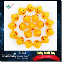 Wholesale Christmas Infant Wholesale - Baby Bath Toy Sound Rattle Children Infant Kids Mini Yellow Rubber Duck Swimming Bathe Gifts Wholesale 10pcs bag Free Shipping