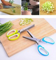 Wholesale Chop Cut - Stainless Steel Scissor 5 Layers Spices Cutter Chopped Green Onion Cut Scissors Cooking Tool Multifunctional Kitchen Knives