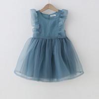 bebek mavi dantel gelinlik toptan satış-Yaz Kız Fırfır Dantel Kısa Kollu Tutu Elbise Bebek Çocuk prenses Düğün Balo Parti Beyaz Mavi Zarif Elbise Yürüyor Çocuk Giyim Yaş 3-8