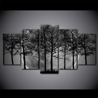 black forest picture frame - 5 Set Framed HD Printed Black And White Tree Forest Canvas Art Painting Poster Picture For Home Decorative Wall Picture
