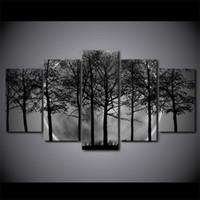 baum bilder schwarz weiß leinwand großhandel-5 Teile / satz Gerahmte HD Gedruckt Schwarz Und Weiß Baum Wald Leinwand Kunst Malerei Poster Bild Für Zuhause Dekorative Wandbild