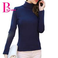 Wholesale Korean Basic T Shirt - Wholesale-Cotton T Shirt Women 2016 Autumn Winter Turtleneck Long Sleeve Casual Basic TShirt Korean Fashion Slim Plus Size Women Clothing