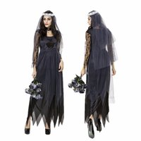 Wholesale Ds Xl Game - Black Corpse Bride Vampire Witch Dress Halloween Costumes Cosplay For Woman Party Carnival Uniform DS Clubwear