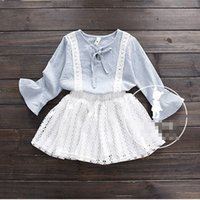 Wholesale Korean Top Long Skirt - Korean Infant Outfits Girls Baby kids Clothes Preppy Style lace girls Dress Suits Plaid Tops Blouses shirt T shirt white skirt 2pcs set A335