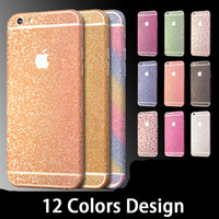 Wholesale Iphone Sticker Skin Case - for iPhone 7 Cover Glitter Full Body Decals Sticker for iPhone 7 5s 6 6s Plus Case Bling Diamond Sparkle Wrap Skin Decal