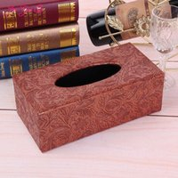 Atacado- Jia-Gui Luo Leather Tissue Box Guardanapo titular Home Office Car Living Room Cases Cover Container Desktop Table