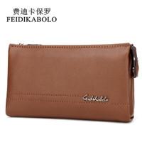 Wholesale Top Brand Men Business Bag - FEIDIKABOLO Top Brand Male Handy Bags Wallet Clutch Men's Wallets Business Carteras Mujer High Quality Leather Men Purse Zipper