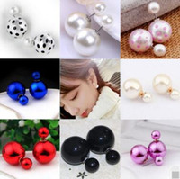 Wholesale Double End Ball - Earings for Woman Girls Double Sided Pearl Earrings Candy Colors Crystal Plated Double Faced Ball Two Ends Pearl Studs Earrings 30pcs free s