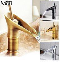 Wholesale antique brass bathroom faucet - Antique Bronze Basin Sink Faucets Modern Open Spout Water Tap Bathroom Vessel Sink Faucet Antique Brass Faucet