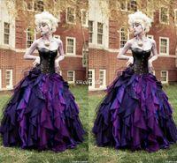 vestido de fiesta de halloween disfraz al por mayor-Traje de fiesta de tafetán de la vendimia del vestido gótico vestidos de novia Corset victoriano Halloween Vestidos de novia 2019 una línea de vestido de novia