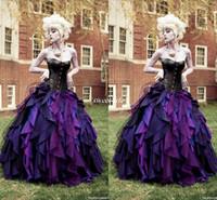 top cüppe cadılar bayramı kostümü toptan satış-Vintage Tafta Balo Kostüm Gotik Gelinlik Korse Victoria Cadılar Bayramı Gelin Törenlerinde 2019 A-Line Gelin Elbise