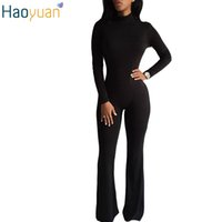 Wholesale Back Zipper Turtleneck - Wholesale- HAOYUAN Woman Bodysuit Sexy One Piece Jumpsuit Turtleneck Boot Cut Long Sleeve Rompers Bodycon Sexy Back Zipper Outfit Overalls