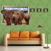 Wholesale Elephant 3d Stickers - 9025W Elephant Wall Sticker Bedroom Living Room 3D Stereoscopic Elephant Wall Sticker European Landscape Fashion Poster Sticker