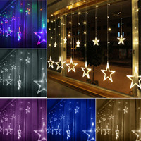 Wholesale Christmas Lights Window Decorations - 2m 138LED Christmas Wedding Party Xmas Multi-Color Waterproof Curtain Window Star Fairy String Lights 8 Modes DEL_10X