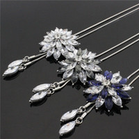 Wholesale Heart Sweater Womens - Korean Snowflake Long Sweater Chain With Crystal Rhinestone Tassels Pendant Necklaces For Womens Lady Jewelry Accessories