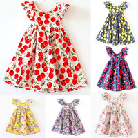 Wholesale vintage kids clothes - INS Girls Floral Dress Princess Pink Beach Backless Clothing Cute Kids Baby Summer Vintage Flower Dress 12 Color Free Shipping WX-D01