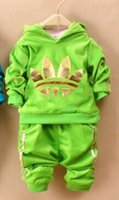 Wholesale Girls Velvet Tracksuits - 2017 spring new children's clothes baby set boys and girls suit velvet leisure suit tracksuits sport set hoody sweater + pants