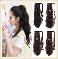 Gros Clips De Cheveux Japan Pas Cher-Vente en gros- 20inch 50cm Ponytail Clip In Hair Extensions Synthétique Longue queue de cheval Hairpiece120g P002 Japan High Temperature Fiber Tail Hair
