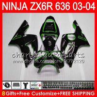 Wholesale zx 636 - 8Gifts 23Colors kit For KAWASAKI NINJA ZX 636 ZX 6R 03-04 600CC Green black 29NO38 ZX-6R 2003 2004 ZX-636 ZX636 ZX6R 03 04 Fairing Bodywork