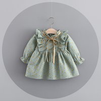 Wholesale Tutu Stand Wholesale - 3 Colors Ins Euro Fashion Girl Dress ruffle stand collar long sleeve little mouse design dress 100% cotton girl dress elegant simple style