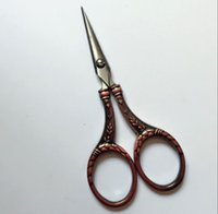 Wholesale Tailor Household Scissor - high quality bronze antique sewing scissors household trimming cutter europe vintage style tailor fabric cutting scissor