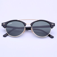 Mais novo Brand Club Óculos de sol Round Men Sun Glasses Mulheres Outdoor Retro clubround Double Bridge Sunglass carfia Gafas de sol 51mm caso